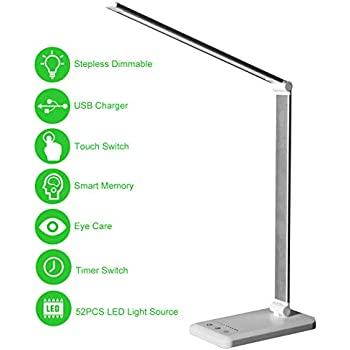 Office Light USB Powered 4000-5000K Eye Caring Natural LEDs Touch Sensor Table Lamp with 3 Brightness Levels Silver Ultra Thin Aluminum Casing WITLIGHT Dimmable LED Desk Lamp for Laptop