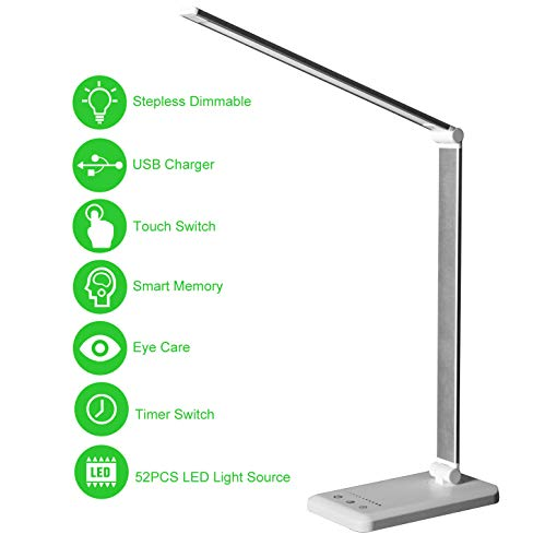 LED Desk Lamp,Eye-Caring Table Lamps,Stepless Dimmable Office Lamp with USB Charging Port,Touch/Memory/Timer Function,25 Brightness Lighting,Foldable Lamp for Reading,Studying,Working,Himigo,White
