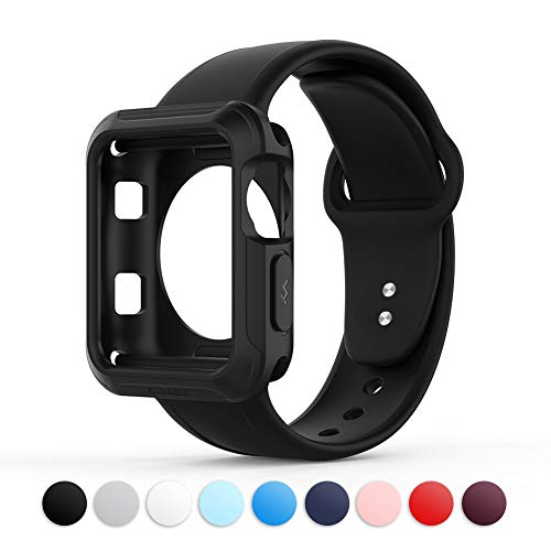 Towiph Compatible with Apple Watch Band 38mm 40mm Soft Silicone iwatch Band 40mm 38mm Series 3 4 2 1 Woman Man Sport Smartwatch Band Replacement Black with Free Apple Watch Case 38mm