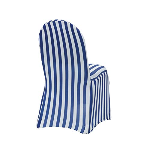 Your Chair Covers - 6 Pack Stretch Spandex Chair Covers Striped - Royal Blue and White, Wedding Slip Covers, Premium Quality Chair Cover