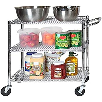 Seville Classics 3-Tier UltraDurable Commercial-Grade NSF Listed Service Utility Cart Shelving with Wheels, 34