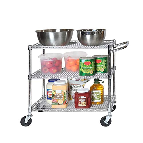 "Seville Classics 3-Tier UltraDurable Commercial-Grade NSF Listed Service Utility Cart Shelving with Wheels, 34"" W x 18"" D, Chrome"