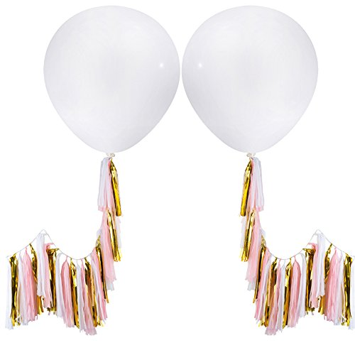 MOWO 36'' Clear Giant Latex Balloon with Tassel (2 set, metallic gold, pink, white tassels)