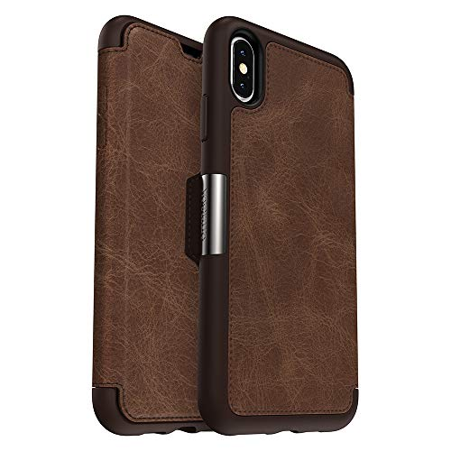 (OtterBox STRADA SERIES Case for iPhone Xs Max - Retail Packaging - ESPRESSO (DARK BROWN/WORN BROWN LEATHER) )