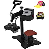 "VEVOR Hat Press 6""X3"" 450W Heat Press for Hats Digital LCD Timer Heat Press Rigid Steel Frame No Stick Transfer Sublimation Machine (6"" x 3""(curved element))"