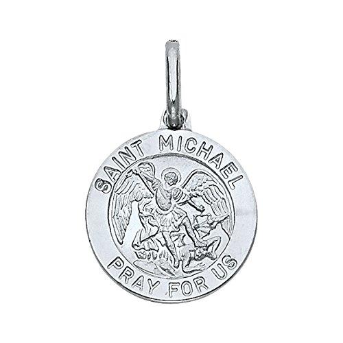 hite Gold Religious Saint Michael Medal Charm Pendant (White-Gold) ()