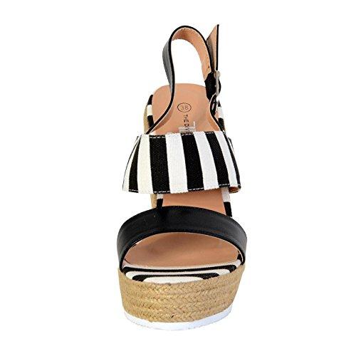 Sandalias Compensada Femme La Divina Fábrica TDF2917 Negro Noir