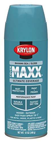 Krylon K09102000 COVERMAXX Spray Paint, Gloss Bahama Sea, 12 Ounce