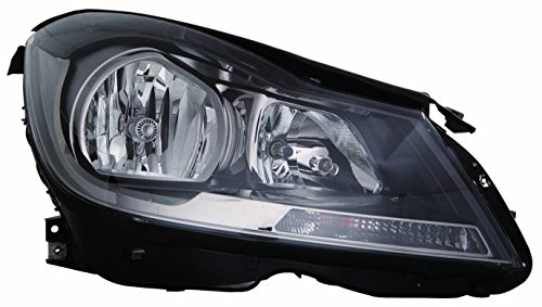 Mercedes Benz C Class Coupe 2012-2015 Headlight Assembly Halogen Black Without Corner Light Passenger Side CAPA 204 820 00 39