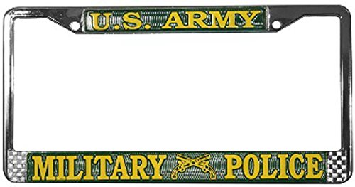 amazoncom us army military police license plate frame chrome metal automotive - Military License Plate Frames