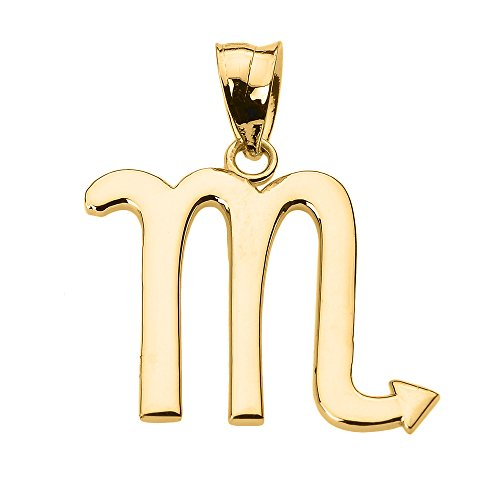 Astrology Jewelry Personalized 14k Yellow Gold Scorpio Zodiac Sign Charm Pendant