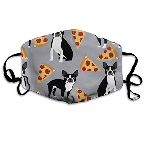 Grey Boston Terrier Dog Pizza Anti Dust Face Mouth Cover Mask Respirator - Dustproof Antibacterial Masks Respirator Protective Breath Health Safety Warm Windproof -