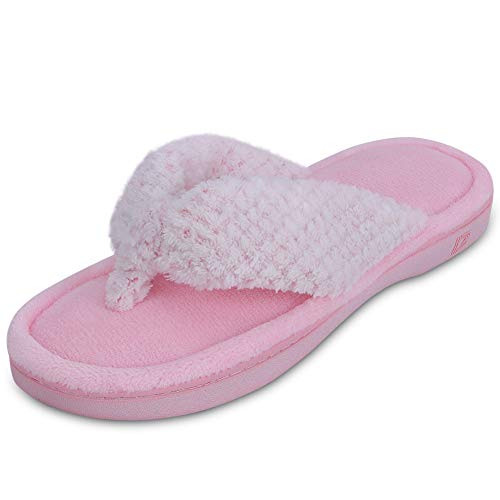 - Dena Lives Women's Memory Foam Flip Flop Slippers with Cozy Short Plush Lining,Spa Thong Sandals Mules, Ladies' House Shoes with Indoor Outdoor Anti-Skid Hard Rubber Sole