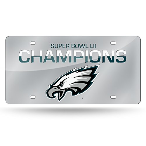 Rico Industries NFL Philadelphia Eagles Super Bowl LII Champs Laser Inlaid Metal License Plate Tag ()