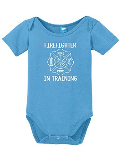 Firefighter In Training Printed Infant Bodysuit Baby Romper Light Blue 0-3 Month