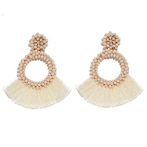 (Tassel Beads Earrings Statement Hoop Handmade Drop Dangle Earrings for Women (White) )