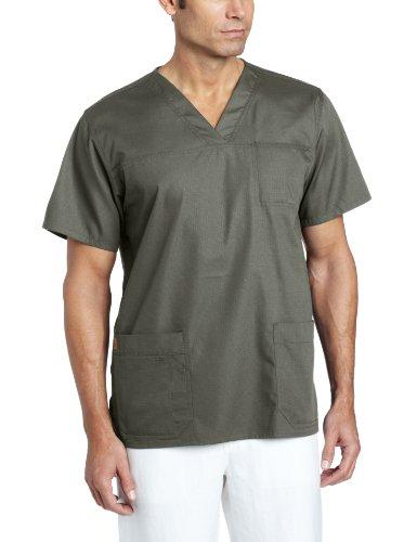 Carhartt Men's Ripstop Multi Pocket Scrub Top, Olive, Medium