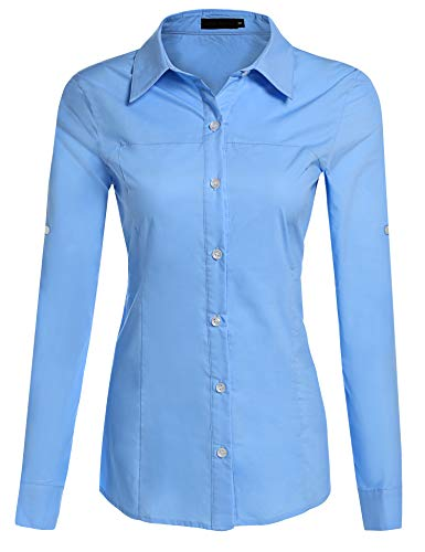 Hotouch Women's Collared Button Down Shirt Slim Fit