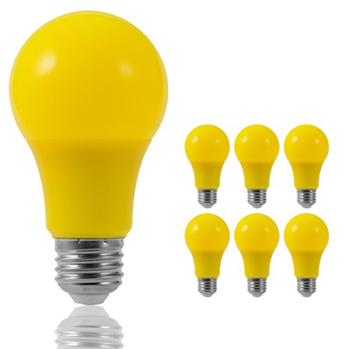 JandCase LED Yellow Bulbs, 40W Equivalent, A19 Bug Light Bulbs with Medium Base, 6 Pack]()