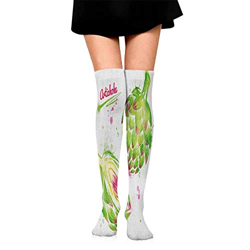 personalized fashion socks Artichoke,Watercolor Illustration of Super Food Vegetables Whole Cut in Half, Fuchsia and Apple Green,socks for toddler boys non skid