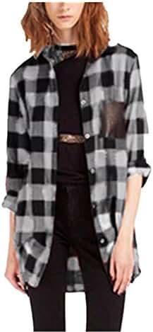 ZANZEA Womens Casual Check Plaid Long Sleeve Pocket Shirts Long Top Blouse