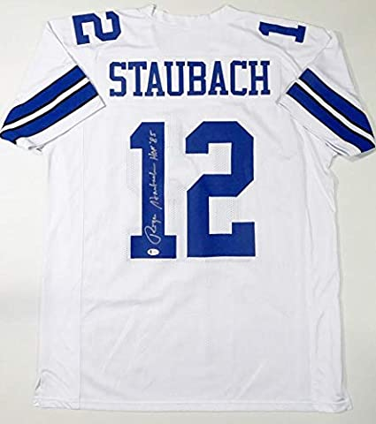 Roger Staubach Autographed White Pro Style Jersey w/HOF - Beckett W Auth 1
