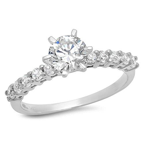 1.4 Ct Round Cut Prong Setting Wedding Engagement Bridal Anniversary Ring Band 14K White Gold, Size 6, Clara (6 Prong Tiffany Setting)