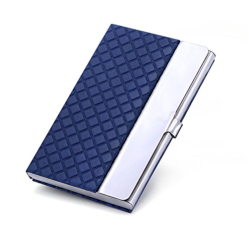 Professional Business Card Holder for Women & Men, Slim Metal Business Card Case holder for Work & Travel, Stainless Steel Business Name Card Organizer Rhumbus Blue (Corporate Gift Business)