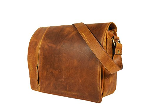 (Leather Castle Vintage Messenger Crossbody Shoulder Satchel Bag Fits 15.6 Inch Laptop for Unisex, Gingerbread Brown)