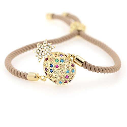 Ashs Choice Pineapple Charm Bracelet Colorful Cubic Zirconia Paved Adjustable Rope Chain Hawaii Layered Jewelry for Her