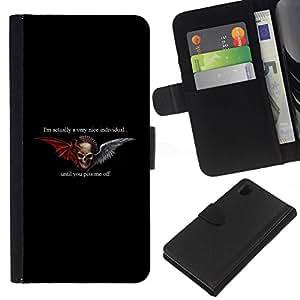 All Phone Most Case / Oferta Especial Cáscara Funda de cuero Monedero Cubierta de proteccion Caso / Wallet Case for Sony Xperia Z1 L39 // Hell Biker Gang Black Wings Devil
