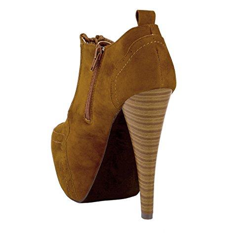 Herstyle Vrouwen Anteek Door De Mens Veroorzaakte Lace-up 5.5-inch Vintage-geïnspireerde Platformpomp Cognac