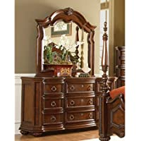 Prenzo Dresser & Mirror by Homelegance in Warm Brown