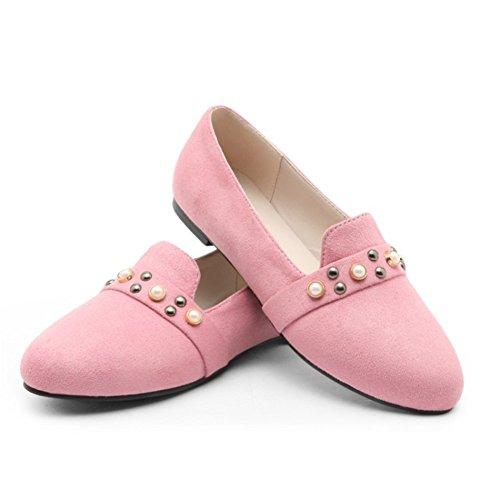 de Retro Alto Tacón Alto Mujer Individuales de de para Zapatos Cabeza Tacón Zapatos Remache Plana Pink Mujer Redonda vqzxa
