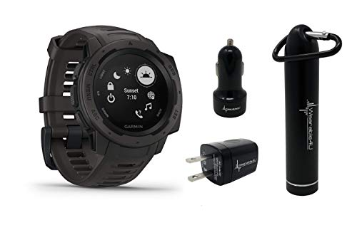 Garmin Instinct Rugged GPS Watch and Wearable4U Ultimate Power Pack Bundle ()