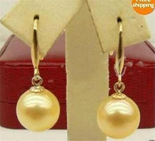 moj-81 12MM Golden South Sea Shell Pearl Gold Plated Leverback Dangle Earrings AAA