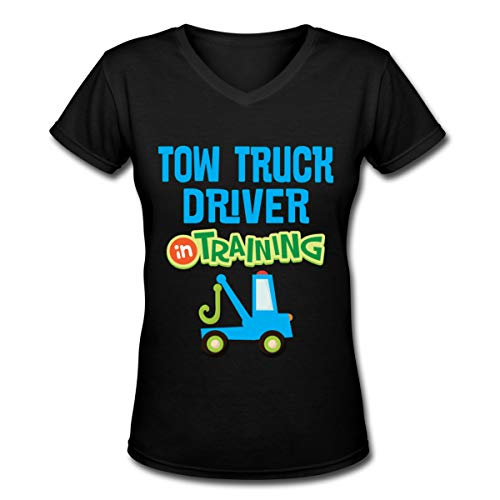 Tow Truck Driver in Training V-Neck Tshirt Short Sleeve Lady' Black ()