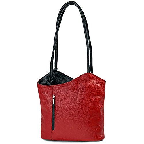 IO.IO.MIO Borsetta per le Icone® - Bolso mochila de cuero para mujer rojo red / black