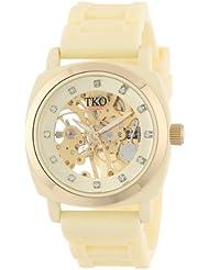 TKO ORLOGI Womens TK626CR Milano Cream Rubber Mechanical Movement Skeleton Watch