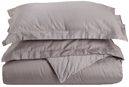 100% Premium Long-Staple Combed Cotton 300 Thread Count Twin 2-Piece Duvet Cover Set, Single Ply, Solid, Grey (Grey Single)