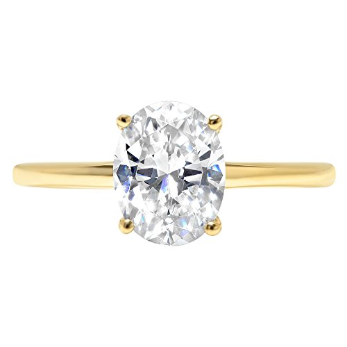 14k Yellow Gold 1.97cttw Oval Solitaire Moissanite Engagement Promise Ring Statement Anniversary Bridal Wedding, Size 8 ()