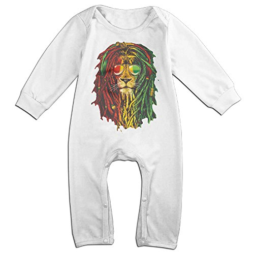NOXIDN SMWI Baby Infant Romper Lion Rasta Hair Long Sleeve Jumpsuit Costume,White 12 Months -