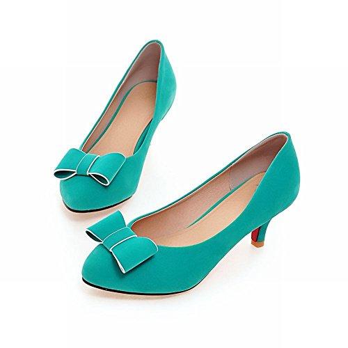 Latasa Womens Cute Bow Mid Heel Dress Casual Pumps Shoes Blue 977zE5mMrr