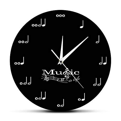 (GUABOHHY Music is Life Inspirational Wall Decor Symphony Musical Wall Clock Treble Clef Music Studio Hanging Wall Watch Musician Gift)