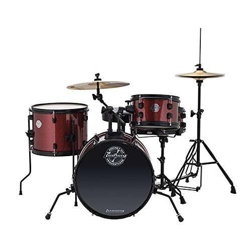 Ludwig LC178X025 Questlove Pocket Kit 4-piece Drum Set-Red Wine Sparkle Finish, inch