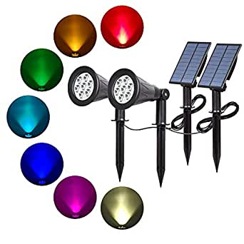 T-SUN Solar Spotlights 7 LED Color Changing Solar Lights Landscape Outdoor Spotlight Wall Light Waterproof Separately Installed Security Lighting Dark Sensing Auto On/Off 180° Angle Adjustable for Tree Patio Yard Garden Driveway Corridor Lawn Etc.(2 Pack)