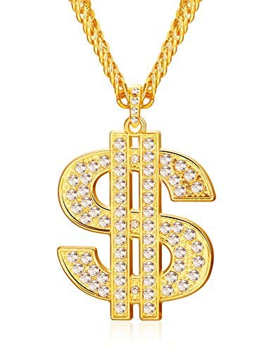 Finrezio Gold Plated Necklace for Men Hip Hop Jewelry Dollar Sign -