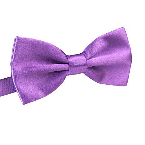 Men's Pre Tied Bow Ties for Wedding Party Fancy Plain Adjustable Bowties Necktie (Light Purple)