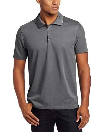 Perry Ellis Men's Short Sleeve Iridescent Fashion Polo, Black, Small