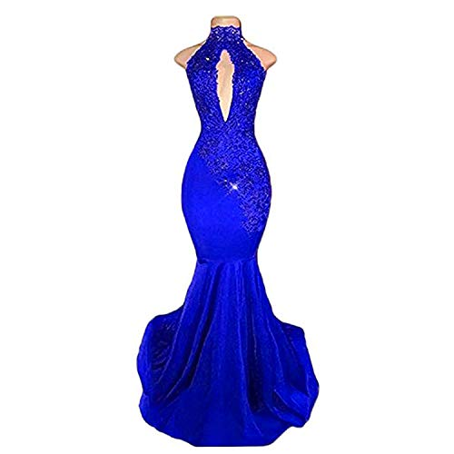BridalAffair Sexy Halter Mermaid Prom Dresses 2019 Long Lace Appliques Evening Dress Royal Blue ()